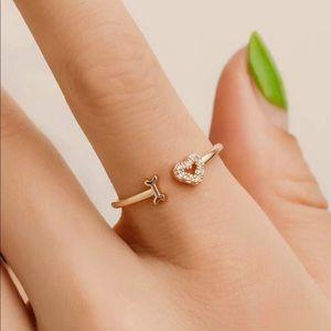 I Love Heart Gold Crystal Ring💖